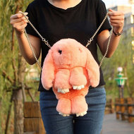 Сумка-рюкзак кролик из натурального меха